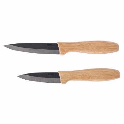 Set 2 couteaux céramique noire et bois kitchen artist men337