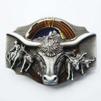 vente discount nouveau style de vie acheter en ligne boucle de ceinture country tete de vache bison longue corne