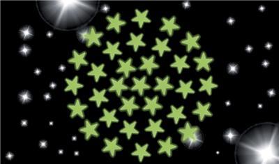 Lot de 3 planches de 34 étoiles luminescentes à fixer au plafond