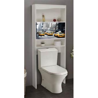 meuble wc newyork en bois avec 2 portes coulissantes 63 x 23 x 175 cm pegane accessoires salles de bain et wc achat prix fnac