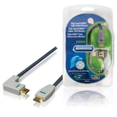 Câble pour assurer une résolution vidéo de 1080p et plus, y compris les technologies daffichage avancées telles que 4K, 3D et Deep Colour. Grâce au connecteur coudé, les dispositifs peuvent être reliés même dans les espaces étroits.