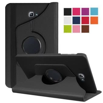 Housse Samsung Galaxy Tab A 10.1 2016 Wifi/4G (T580/T585/T580N) 10,1 pouces Cuir Style noire rotative - Etui coque noir de protection 360 degrés ...