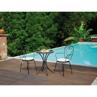 Ensemble de jardin table rond + 2 chaises en fer forgé coloris noir ...