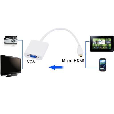 CABLING® Générique Micro HDMI mâle vers VGA femelle Video Converter Cable adaptateur 1080P