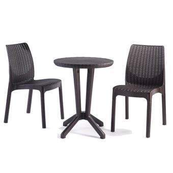 Salon de jardin ou de balcon en résine de 2 chaises + 1 table ronde ...