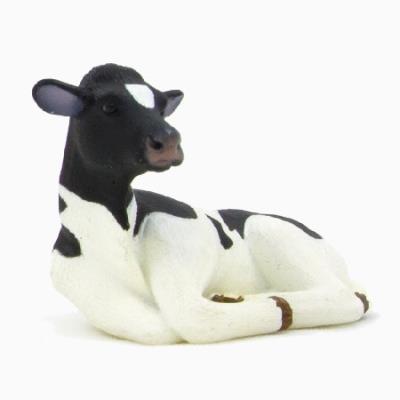 Mgm - 387082 - figurine animal - veau prim holstein couche noir - 6,5 x 4 cm animal planet ft-7082