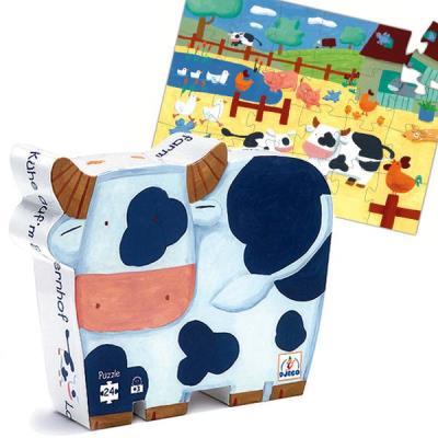 Puzzle Djeco Boite silhouette La Vache 24 grosses pcs en carton Enfants 3 ans +
