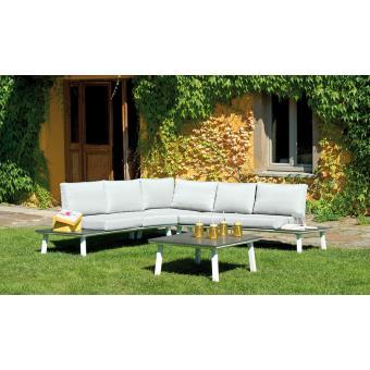 Ensemble jardin de 2 banquettes + angle en alu coloris bois avec ...