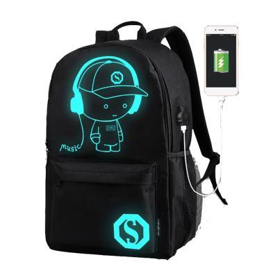 Cartable unisexe lumineux de musique de charge d'USB pour le sac à dos d'adolescents