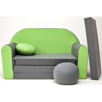 meilleure sélection 0e49d a7761 Canape Sofa enfant 2 places convertible gris vert ...