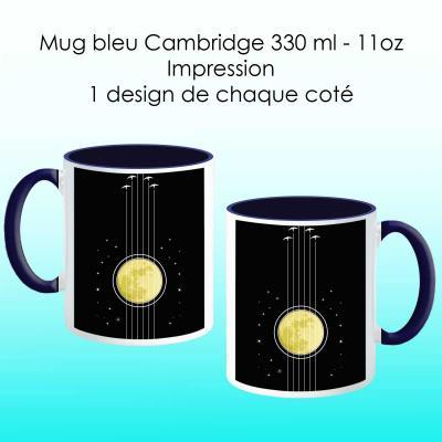 Mug bleu cambridge avec design Guitare