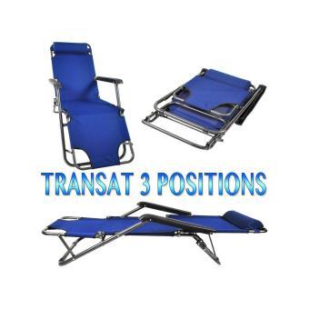 chaise longue transat 3 positions fauteuil pliable jardin. Black Bedroom Furniture Sets. Home Design Ideas