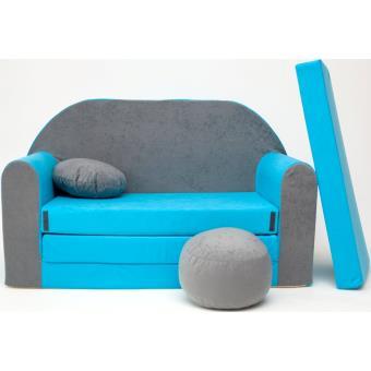 livraison gratuite a07f4 c186c Canape Sofa enfant 2 places convertible gris bleu ...