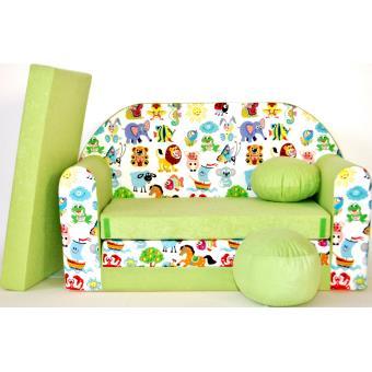 canape sofa enfant 2 places convertible animaux vert fauteuils enfant achat prix fnac. Black Bedroom Furniture Sets. Home Design Ideas