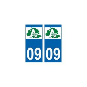 Autocollant plaque immatriculation voiture dpt 09 Ariège
