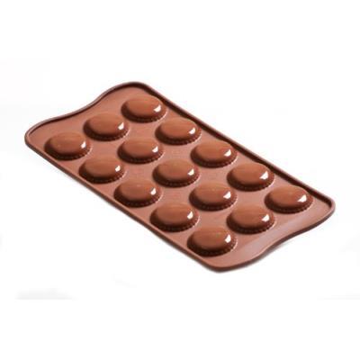 Silikomart 22.121.77.0065 scg21 moule pour chocolat forme choco macaron 15 cavités silicone marron