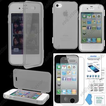 ebestStar Coque Portefeuille a Rabat Houe Etui Livre Silicone Gel pour Apple iPhone 4S 4 Couleur Transparent