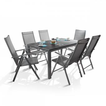Ensemble salon de jardin 6 places TOP QUALITE Cordoba table Alu + 6 ...