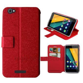 Housse etui coque pochette portefeuille pour Wiko Pulp Fab 4G - ROUGE