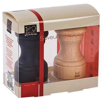 Peugeot - Duo de moulin à poivre et à sel manuel en bois couleur chocolat et naturel 10 cm
