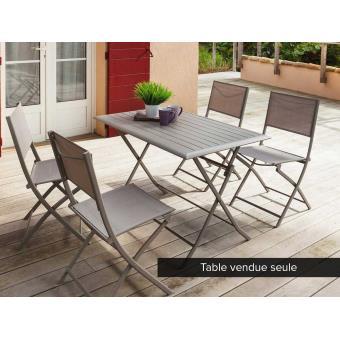 Table de jardin rectangulaire Azua 4 places Taupe - Mobilier de ...
