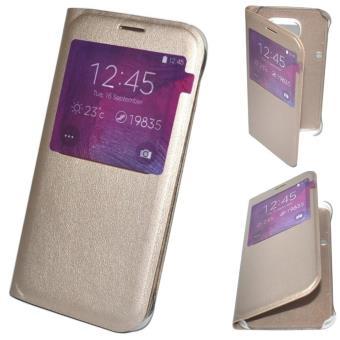 Housse Coque Etui View Flip Cover Doré Gold pour SAMSUNG GALAXY S6 Edge