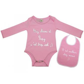 Body bavoir bébé Mamie-Papy rose 3 mois Taille - 3 mois - Autres cadeaux  naissance - Achat   prix  37b4e728636