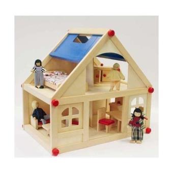 maison de poup e en bois figurines pour jeux jouets. Black Bedroom Furniture Sets. Home Design Ideas