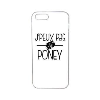 Coque j peux pas j ai poney fond blanc compatible iphone 5s transparent