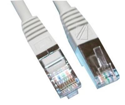 Câble avec fiche RJ45 mâle et fiche RJ45 mâle FTP blindé cat 5e DROIT Gris câble réseau 1m00