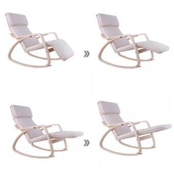 Fauteuil A Bascule Rocking Chair Relaxation Lounge Avec Repose Pied