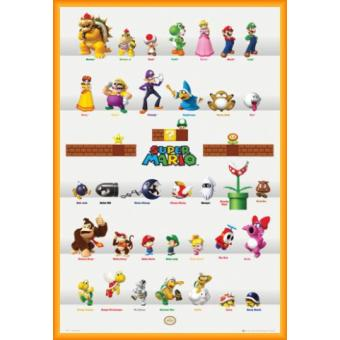 poster encadr nintendo super mario personnages 91x61 cm cadre plastique orange poster. Black Bedroom Furniture Sets. Home Design Ideas
