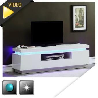 FLASH Meuble TV 165cm blanc laqué avec led bleue - Meuble TV - Achat ...