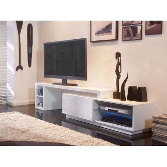Meuble tv bas extensible en bois laqu avec led longueur 160 286cm galston blanc achat - Meuble tv en longueur ...