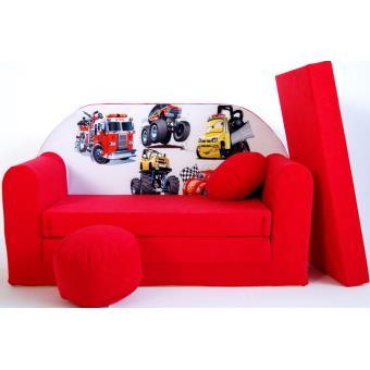 premier taux e17ab c6468 Canape Sofa enfant 2 places convertible Voitures Rouge ...