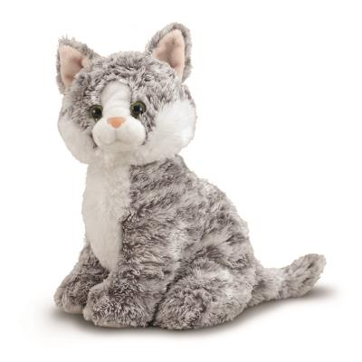 Peluche chat gris et blanc 23 cm