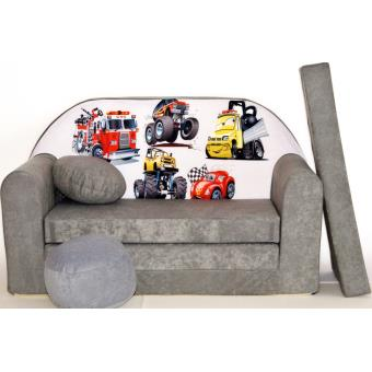 canape sofa enfant 2 places convertible voitures gris fauteuils enfant achat prix fnac. Black Bedroom Furniture Sets. Home Design Ideas