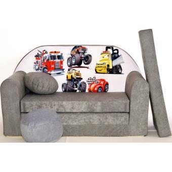 canape sofa enfant 2 places convertible voitures gris fauteuils enfant achat prix fnac. Black Bedroom Furniture Sets. Home Design Ideas