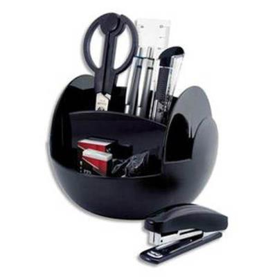 Pot multifonctions rotatif noir, 6 cases, livré avec 9 produits - Diamètre 15 cm, hauteur 11 cm
