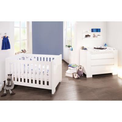 PINOLINO Chambre bébé Sky blanc: Lit évolutif et commode à langer