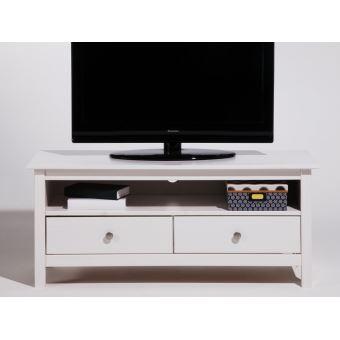 meuble tv bas en bois massif avec 2 tiroirs longueur 110cm berna blanc meuble tv achat. Black Bedroom Furniture Sets. Home Design Ideas