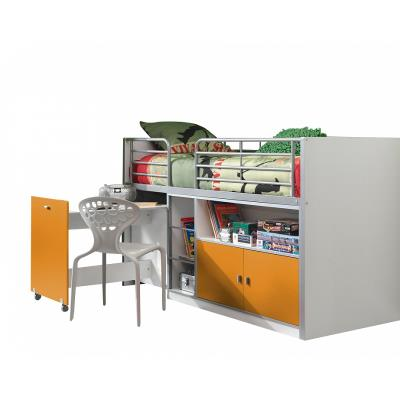 Vipack Lit Mezzanine + Bureau + Rangement 90x 200 Bonny Orange