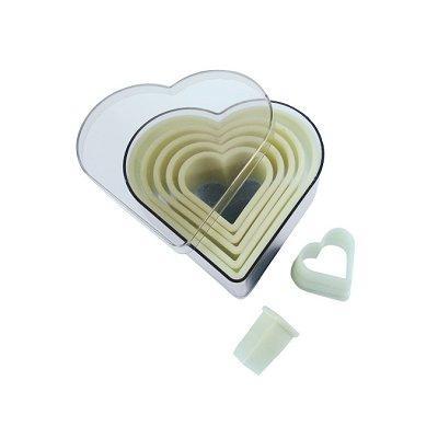 DeBuyer - Boite de 7 emporte-pièces Coeurs unis, plastiques