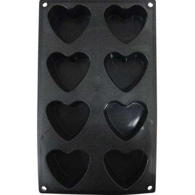 patisse 19192 moule forme des coeurs 8 cavités platine noir paillette 30 x 17,5 cm