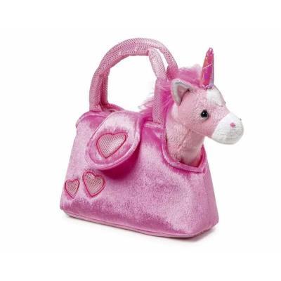 Peluche de la licorne avec sac rose Griffine