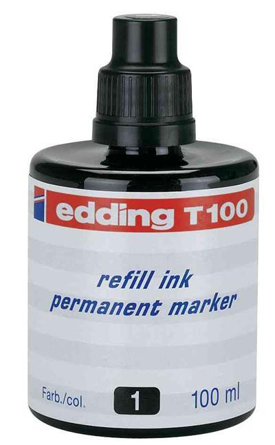 EDDING - Encre de chine de recharge T100, vert, 100 ml pour la recharge des marqueurs permanents edding No. 1, 400,404, 500, 550, 800, 850, 3000, 3300 et comfort