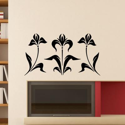Pick and Stick Sticker Mural Ornement iris - 55 x 75 cm, Noir