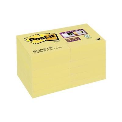 Post-it 622-12sscy-eu lot de 12 blocs de notes 90 feuilles 51 x 51 mm jaune
