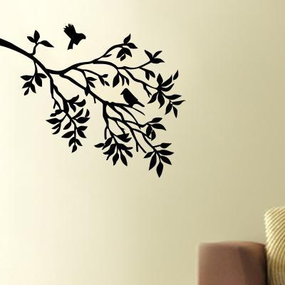 Pick and Stick Sticker Mural Branche et deux petits oiseaux - 25 x 30 cm, Noir
