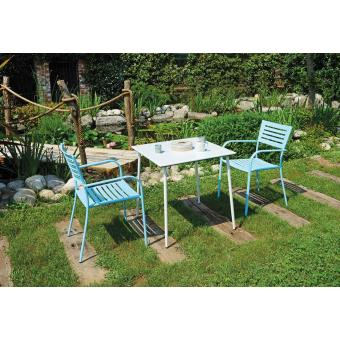 Ensemble de jardin table blanche + 2 chaises blu azur - A USAGE ...